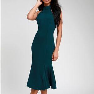 Cherished Charm Dark Green Backless Midi Dress